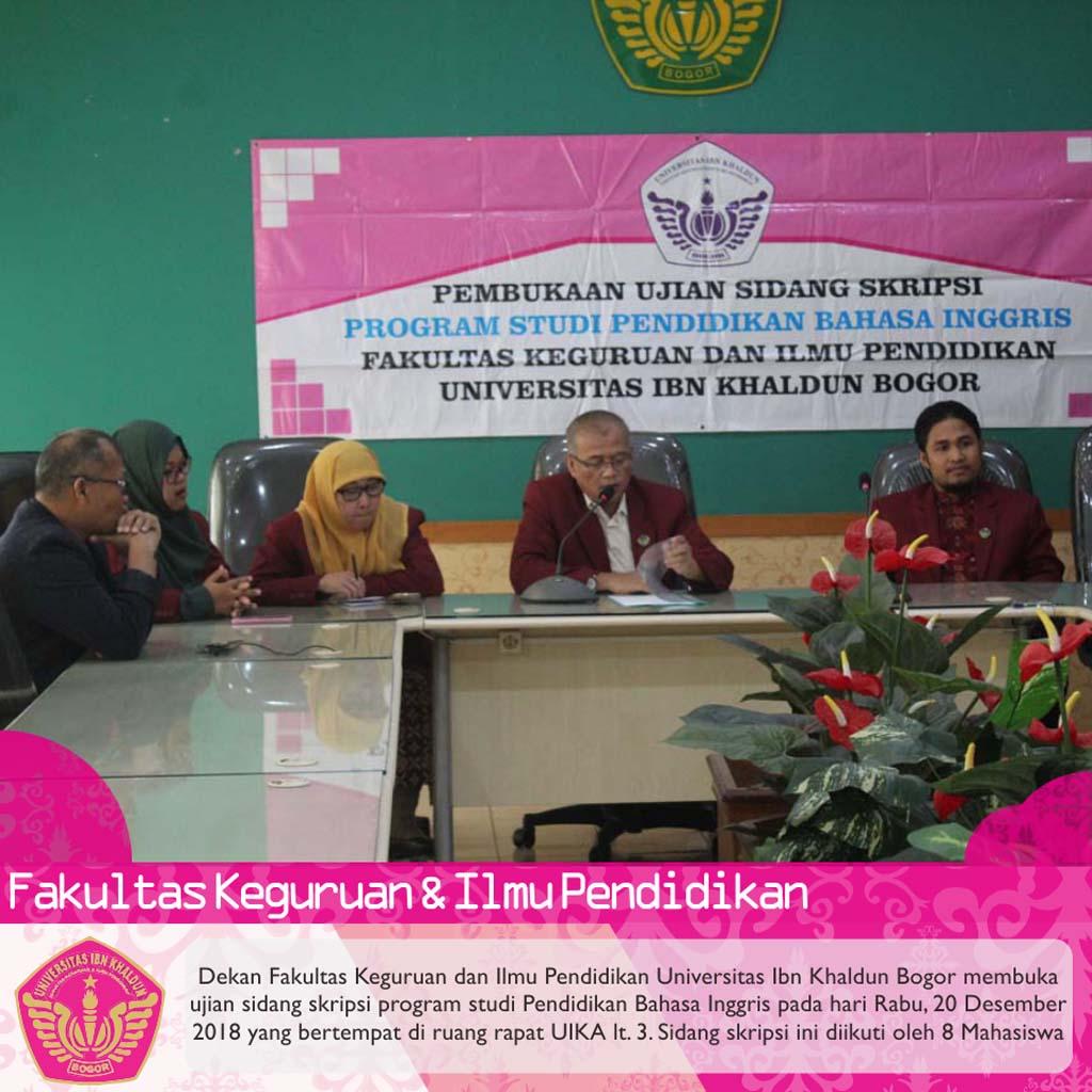 Pembukaan Sidang Skripsi Program Studi Pendidikan Bahasa Inggris Fkip Uika Bogor