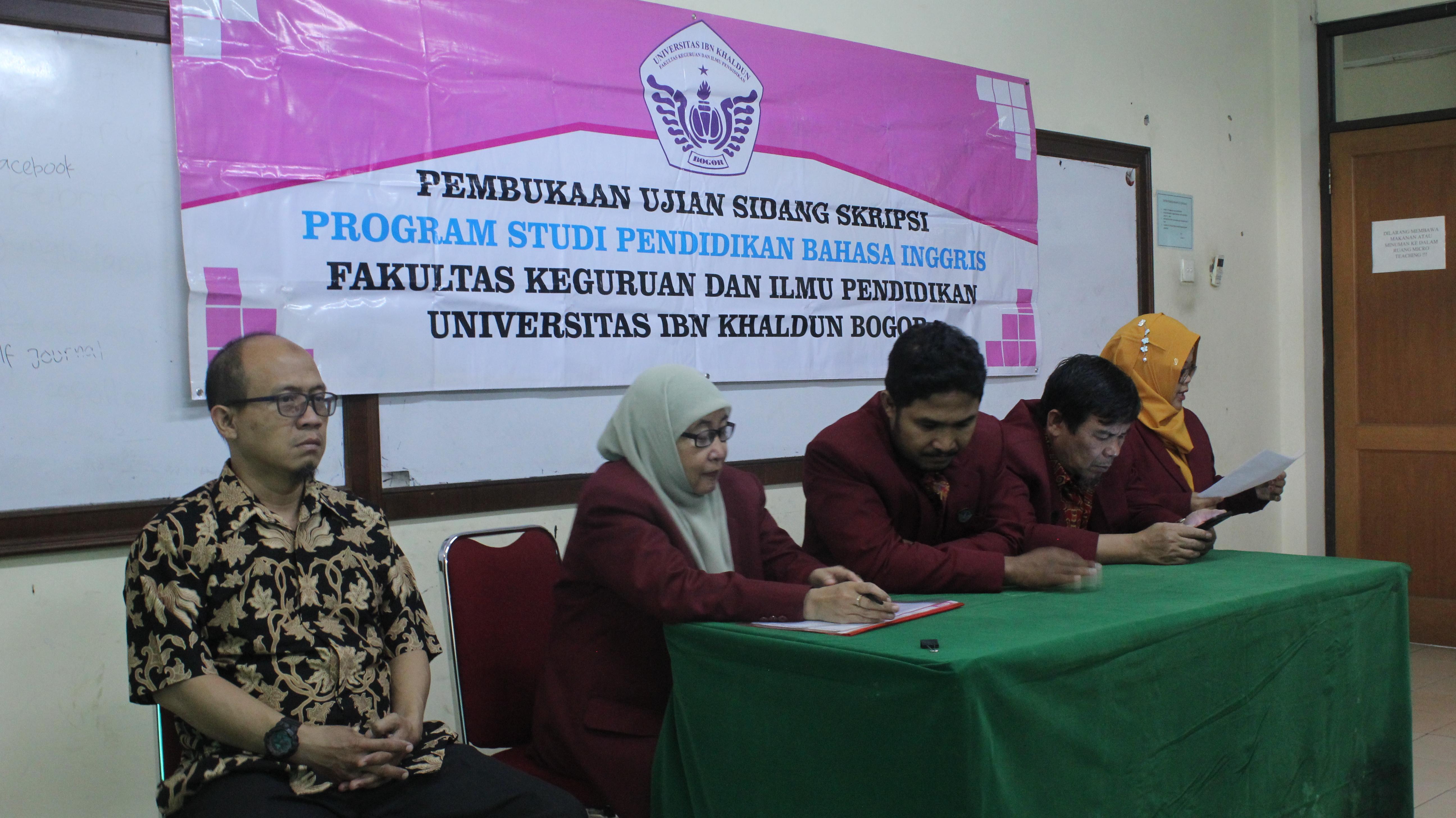 Pembukaan Sidang Skripsi Program Studi Pendidikan Bahasa Inggris Fkip Uika Fkip Uika Bogor
